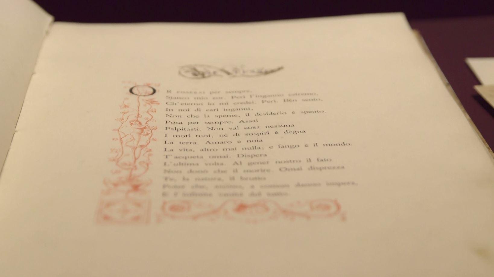 A Recanati in mostra i manoscritti e i cimeli di Leopardi