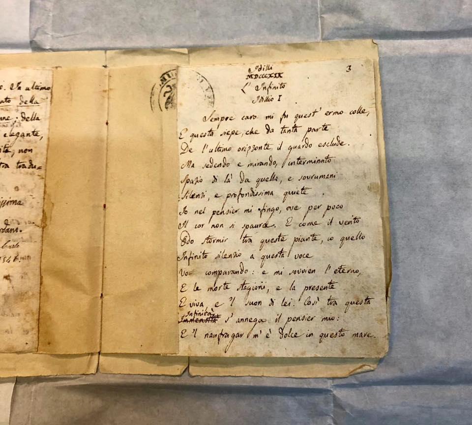 L'Infinito di Giacomo Leopardi torna a Recanati