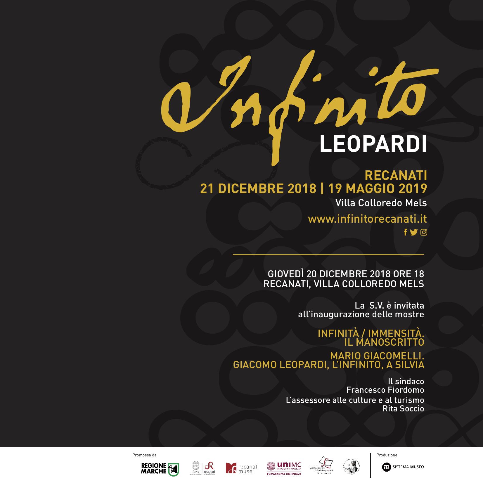 &quote;Infinito Leopardi&quote;, giovedì l'inaugurazione