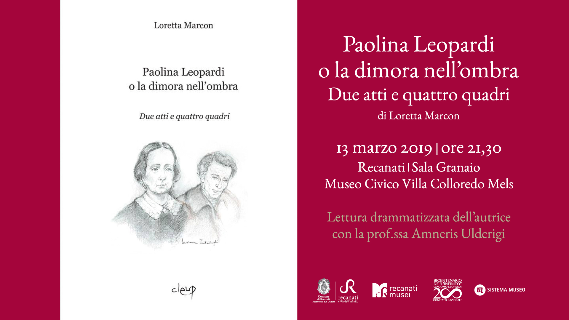 Paolina Leopardi, a Villa Colloredo Mels un reading a lei dedicato